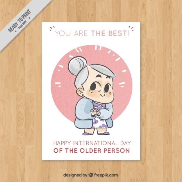 Ładna Kartkę Z życzeniami Na Międzynarodowy Dzień Osób Starszych Darmowych Wektorów