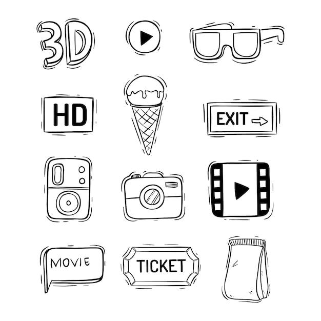 Ładna kolekcja elementów filmowych lub kinowych w stylu bazgroły Premium Wektorów