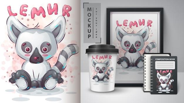 Ładna Lemur Ilustracja I Merchandising Premium Wektorów