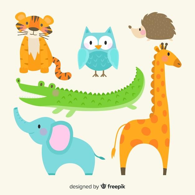 Ładna ręcznie rysowane kolekcja zwierząt Darmowych Wektorów