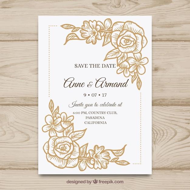 Ładna Ręcznie Rysowane Zaproszenie Na ślub Z Kwiatami Darmowych Wektorów