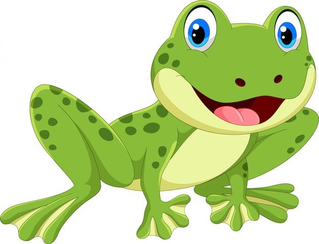 Ładna żaba Kreskówka Premium Wektorów