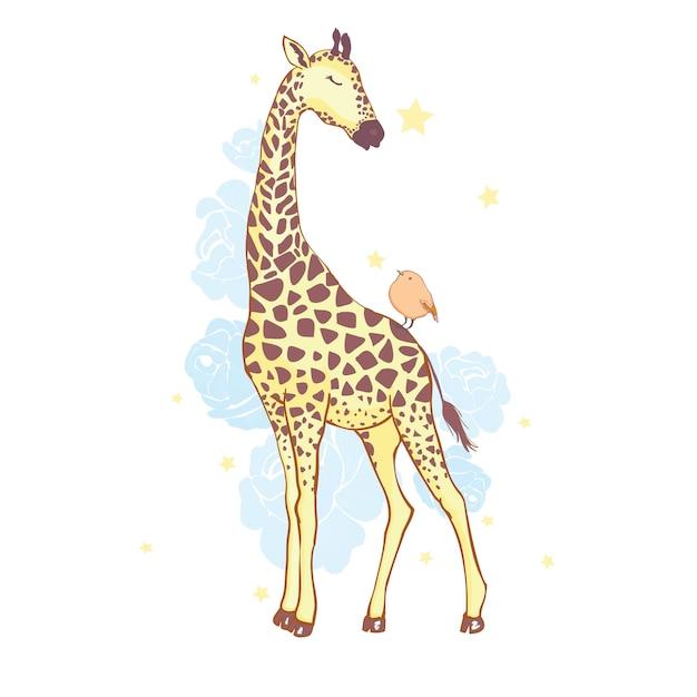 Ładna żyrafa na białym tle Premium Wektorów