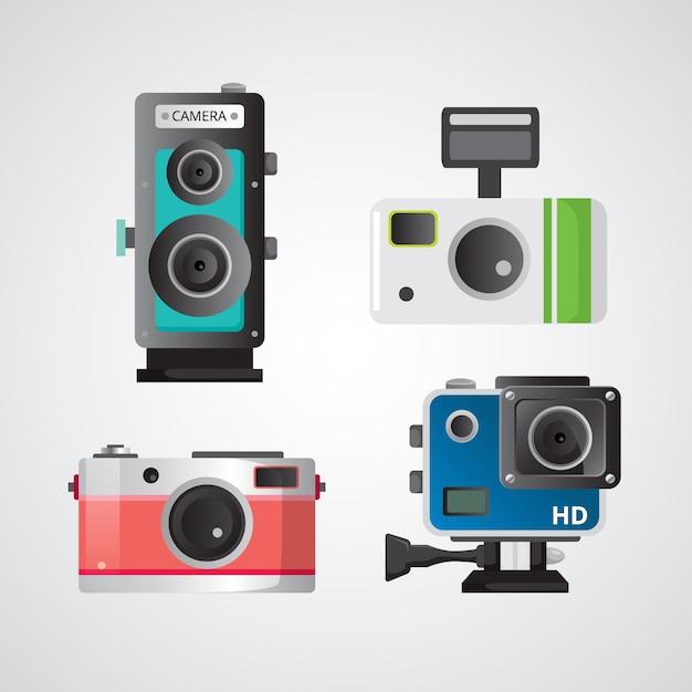 Ładne aparaty fotograficzne w płaskiej obudowie Darmowych Wektorów
