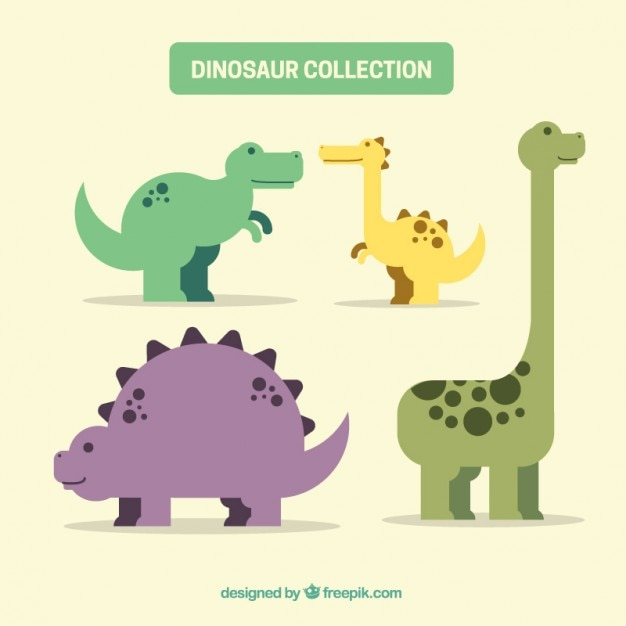 Ładne Mieszkanie Dinozaury Paczka Darmowych Wektorów
