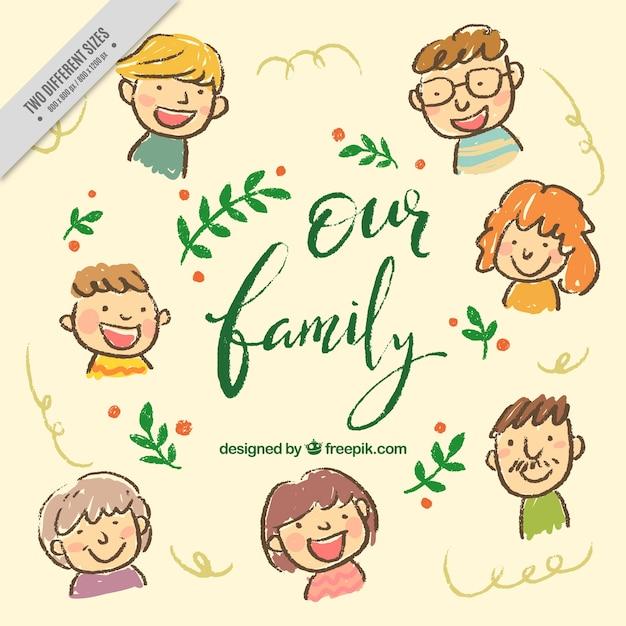 Ładne ręcznie rysowane tła rodziny Darmowych Wektorów