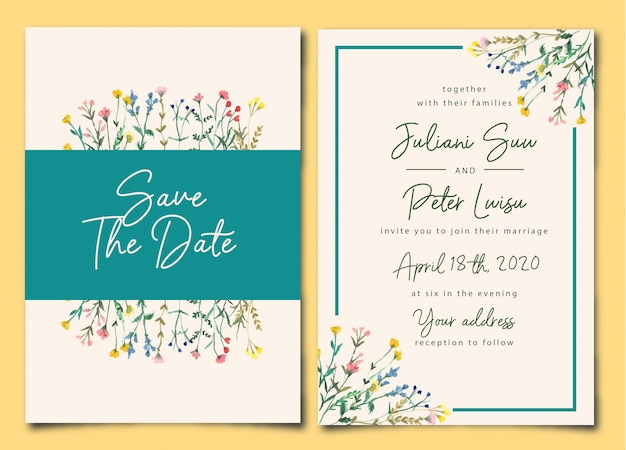 Ładne zaproszenie na ślub dziki kwiatowy akwarela Premium Wektorów
