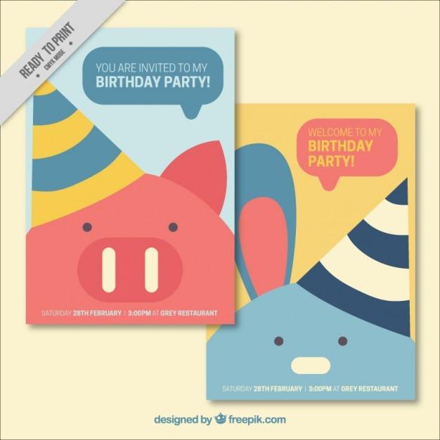 Topnotch Ładne zwierzęta kartki urodzinowe Wektor | Darmowe pobieranie UK23