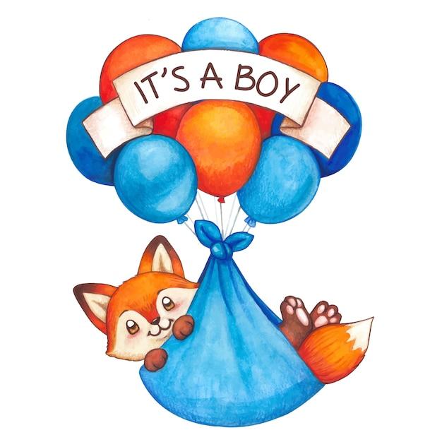 Ładny Akwarela Chłopiec Lis Latający Na Balony Premium Wektorów