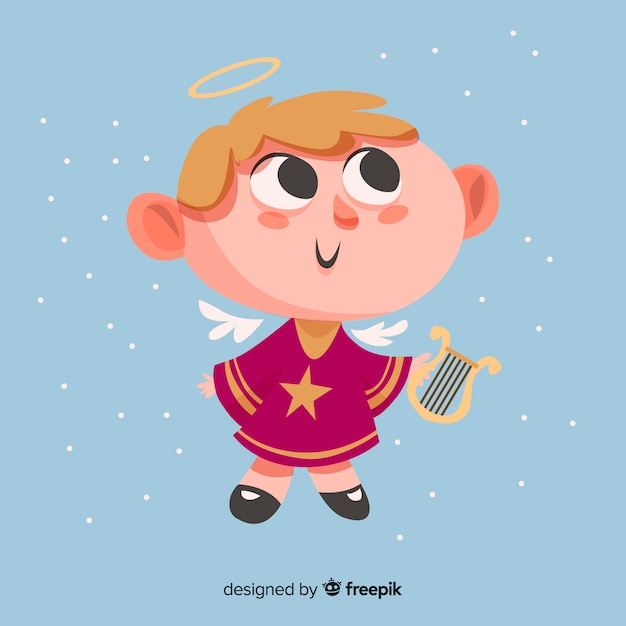 Ładny Anioł Bożego Narodzenia Z Płaska Konstrukcja Darmowych Wektorów