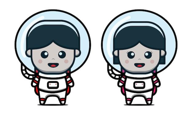 Ładny Astronauta Chłopiec I Dziewczynka Ikona Ilustracja Kreskówka Premium Wektorów