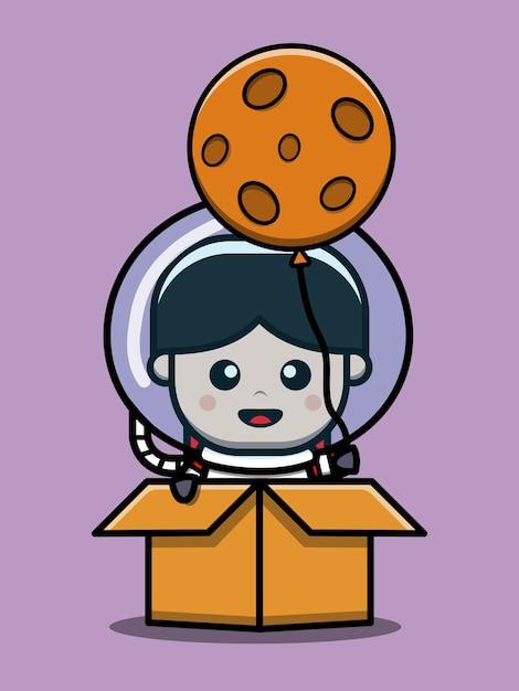 Ładny Astronauta Chłopiec W Pudełku Ikona Ilustracja Kreskówka Premium Wektorów