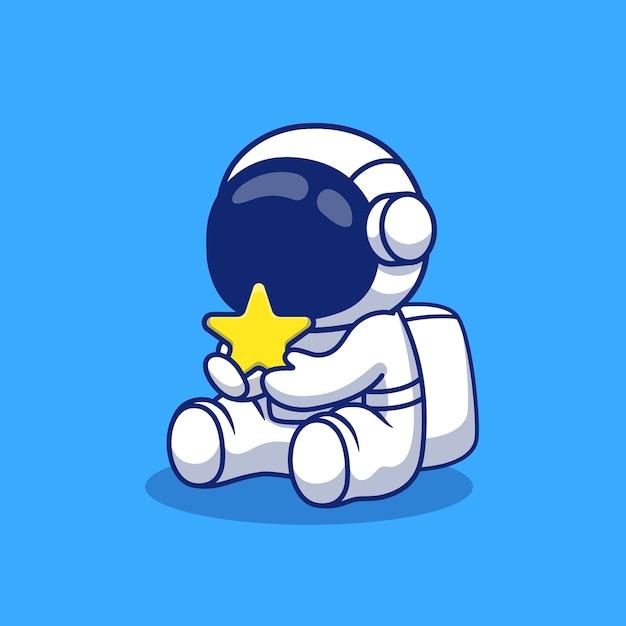 Ładny Astronauta Gospodarstwa Ilustracja Kreskówka Gwiazda. Koncepcja Ikona Przestrzeni Premium Wektorów