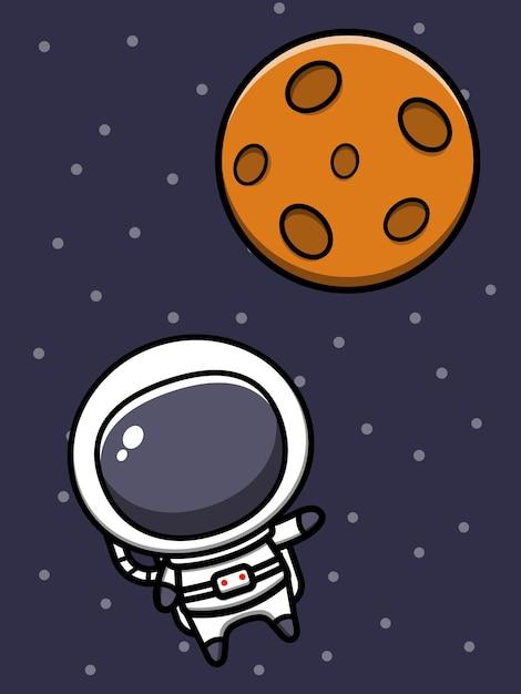 Ładny Astronauta Ikona Ilustracja Kreskówka Premium Wektorów