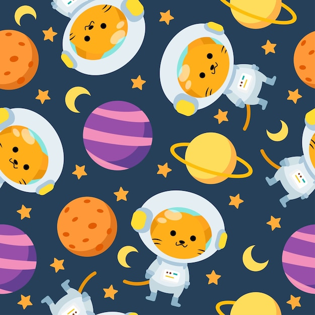 Ładny Astronauta Kot Kreskówka Wzór Z Księżycem I Planetą W Przestrzeni Premium Wektorów