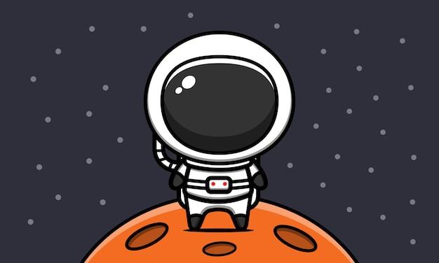 Ładny Astronauta Na Księżycu Ikona Ilustracja Kreskówka Premium Wektorów