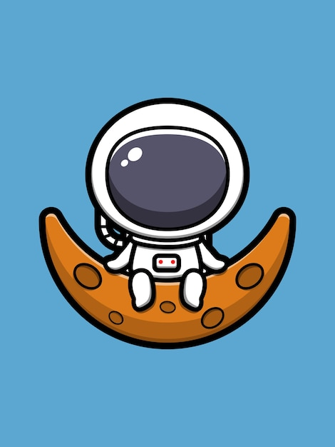 Ładny Astronauta Siedzi Na Księżycu Ikona Ilustracja Kreskówka Premium Wektorów