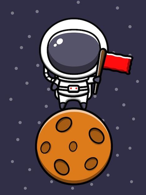 Ładny Astronauta Stojący Na Księżycu Z Flagą Ikona Ilustracja Kreskówka Premium Wektorów