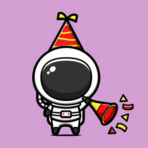 Ładny Astronauta świętuje Nowy Rok Kreskówka Ikona Ilustracja Premium Wektorów