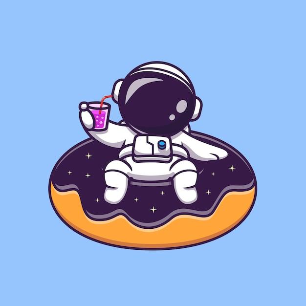 Ładny Astronauta Unoszący Się Na Kosmicznej Pączku Balon Kreskówka Wektor Ikona Ilustracja. Ikona Lato Przestrzeni Premium Wektorów