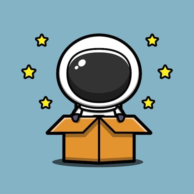 Ładny Astronauta W Pudełku Ikona Ilustracja Kreskówka Premium Wektorów