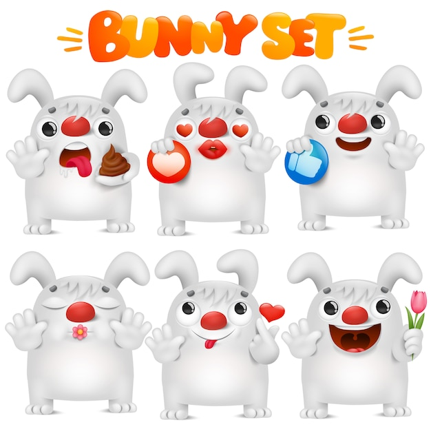 Ładny Biały Królik Kreskówka Emoji W Kolekcji Różnych Sytuacji Emocji Premium Wektorów
