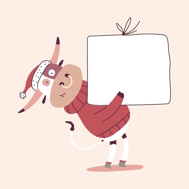 Ładny Boże Narodzenie Byka Z Postacią Z Kreskówki Pusty Znak Deska Premium Wektorów