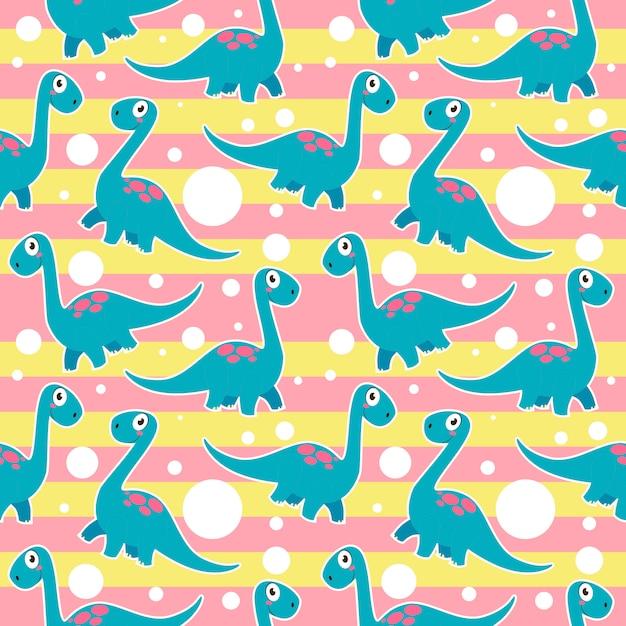 Ładny Brontozaur Dinozaury Wzór Bez Szwu Premium Wektorów