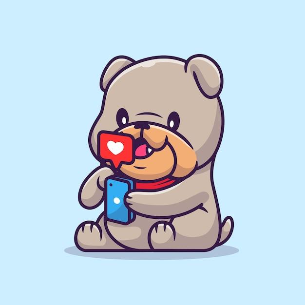 Ładny Bulldog Gra Telefon Ilustracja Kreskówka Wektor. Koncepcja Technologii Zwierząt Na Białym Tle Wektor. Płaski Styl Kreskówki Darmowych Wektorów