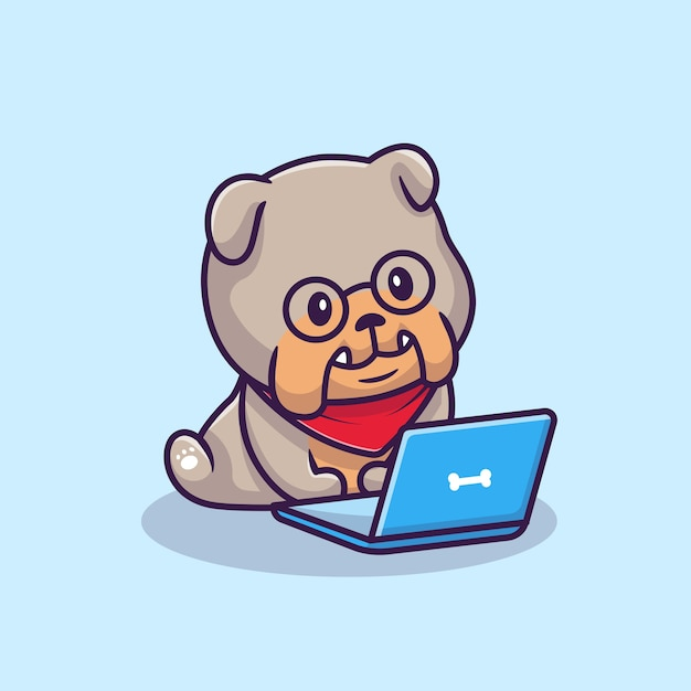 Ładny Bulldog Obsługujący Laptopa Ilustracja Kreskówka Koncepcja Ikona Technologii Zwierząt Darmowych Wektorów