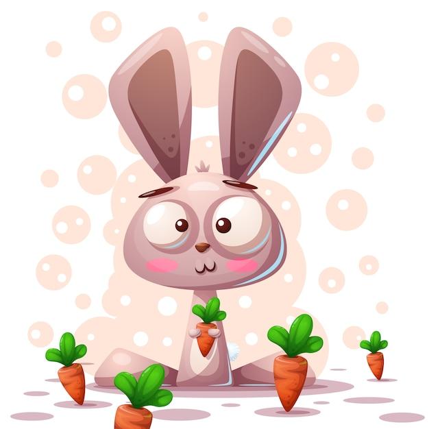 Ładny charakter królik - ilustracja kreskówka. Premium Wektorów