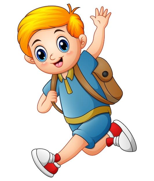 Ładny Chłopak Chodzić Do Szkoły Premium Wektorów