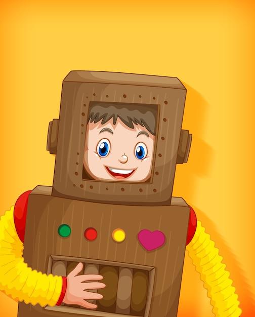Ładny Chłopak Sobie Kostium Robota Na Białym Tle Darmowych Wektorów