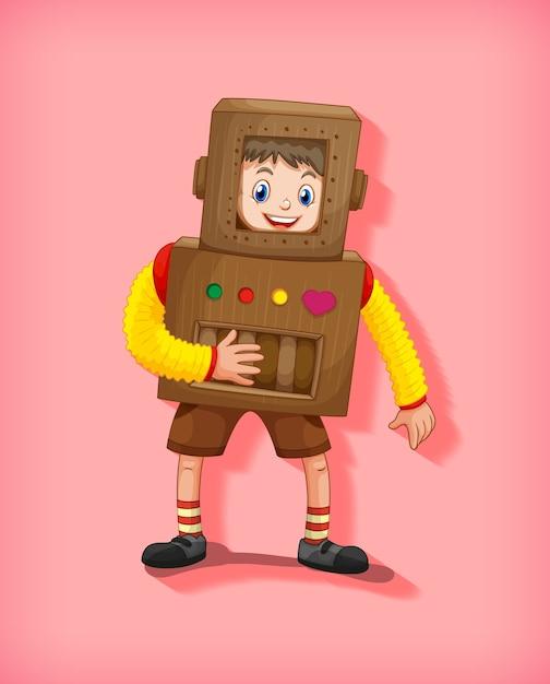 Ładny Chłopak Sobie Kostium Robota W Pozycji Stojącej Na Białym Tle Darmowych Wektorów