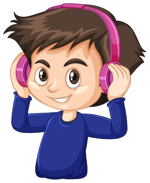 Ładny Chłopak Sobie Różowe Słuchawki Na Białym Tle Darmowych Wektorów
