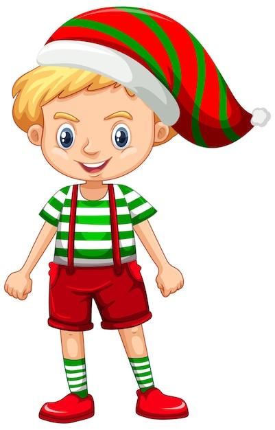 Ładny Chłopak W Boże Narodzenie Kostium Postać Z Kreskówki Darmowych Wektorów