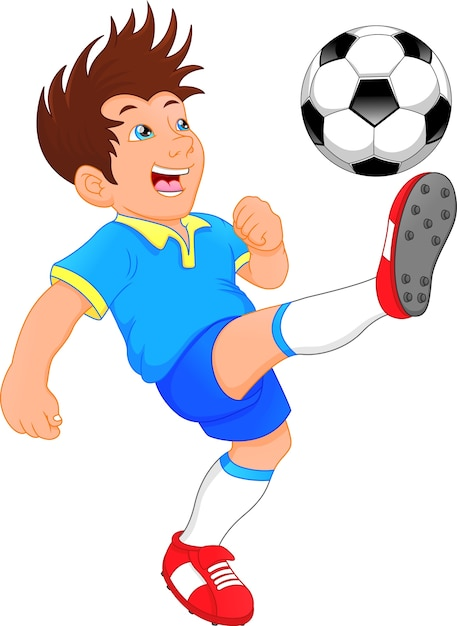 Ładny Chłopiec Piłkarz Premium Wektorów