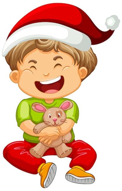 Ładny Chłopiec W Kapeluszu Boże Narodzenie I Bawi Się Zabawką Darmowych Wektorów