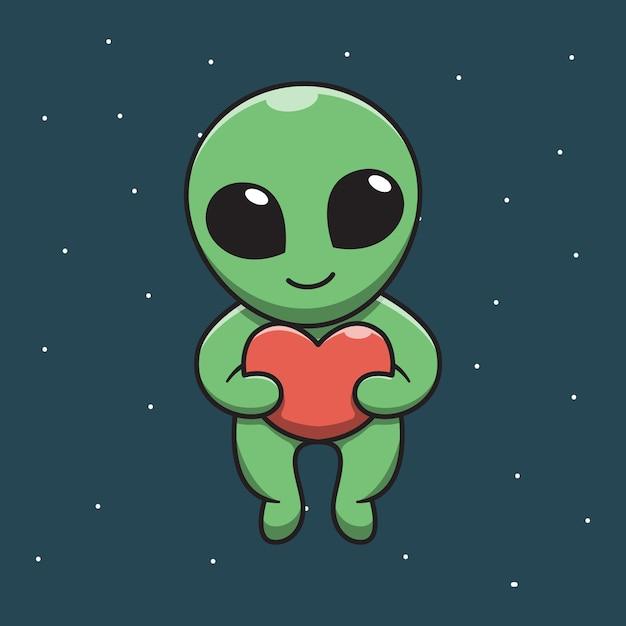 Ładny Cudzoziemiec Trzyma Miłość W Kosmicznej Ilustracja Kreskówka Premium Wektorów
