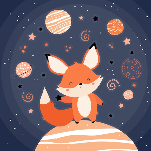 Ładny czerwony lis w kosmosie Premium Wektorów