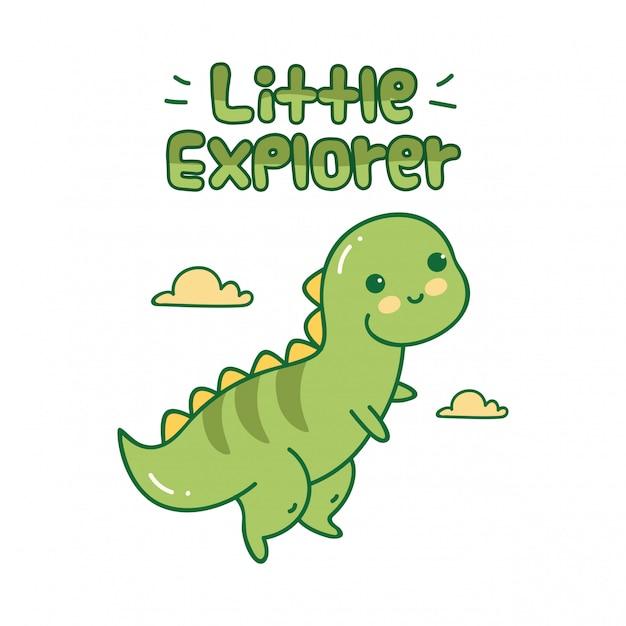 Ładny design z małym dinozaurem Premium Wektorów