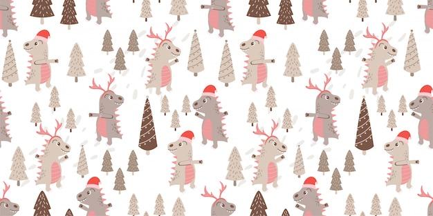 Ładny dino zwierząt wzór doodle zimowy motyw Premium Wektorów