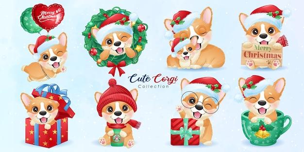 Ładny Doodle Corgi Zestaw Na Boże Narodzenie Z Akwarela Ilustracja Premium Wektorów