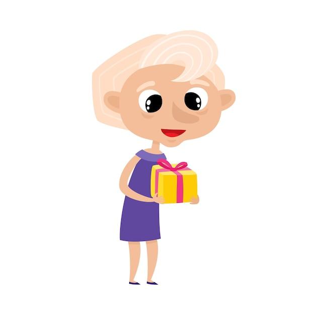 Ładny Elegancki Babcia W Stylu Kreskówka Na Białym Tle. Ilustracja Szczęśliwa Stojąca Stara Kobieta Z Prezentem Premium Wektorów