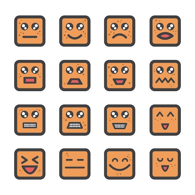 Ładny emoji twarzy crackera z ikoną piega Premium Wektorów