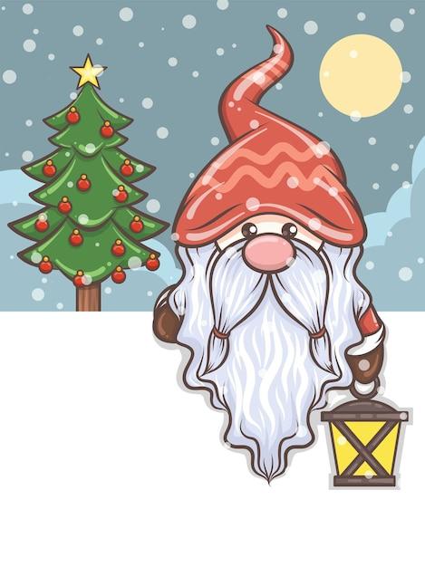 Ładny Gnom Trzyma Latarnię Słoneczną - Ilustracja Bożego Narodzenia Premium Wektorów