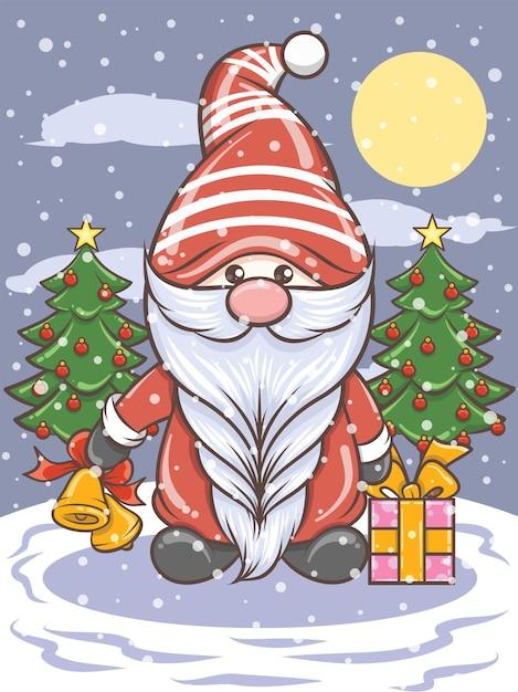 Ładny Gnome Gospodarstwa Jingle Bells - Christmas Ilustracji Premium Wektorów