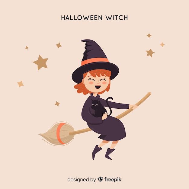 Ładny halloween czarownica tło Darmowych Wektorów