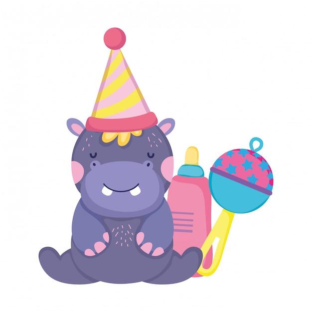 Ładny i mały charakter hipopotam z kapeluszem strony Premium Wektorów