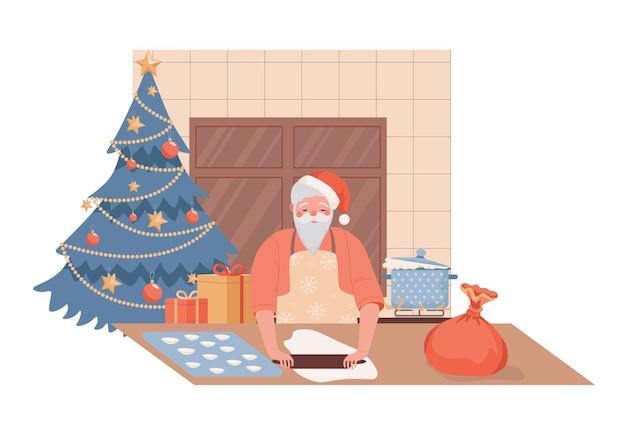 Ładny I Spokojny Charakter świętego Mikołaja Gotowanie Ilustracji Potraw świątecznych. Premium Wektorów